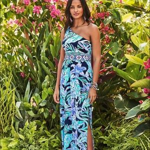 Lilly Pulitzer Malia One Shoulder Maxi Dress SZ S